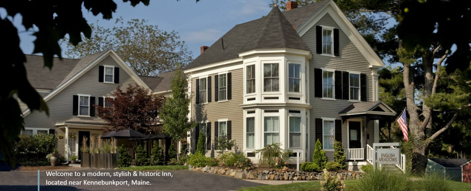 "Exterior with text about inn at bottom left - ""Welcome to a modern, stylish & historic inn, located near Kennebunkport, Maine."""