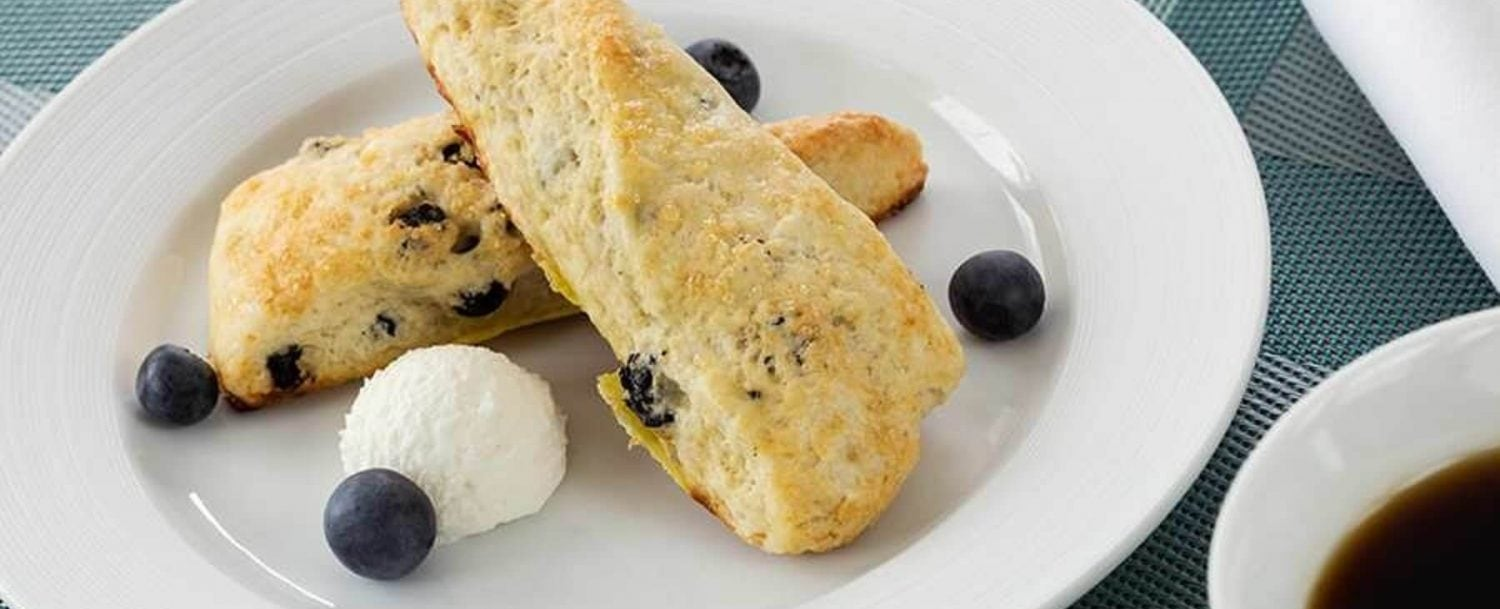 Scones with butter and blueberries