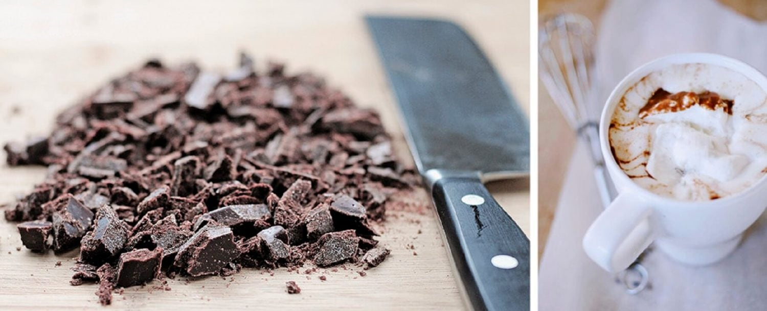 Chopped chocolate next to a knife on a cutting board; side shot of a cup of hot chocolate with shredded chocolate in it