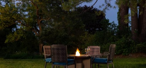 Exterior - Firepit & Chairs at Night