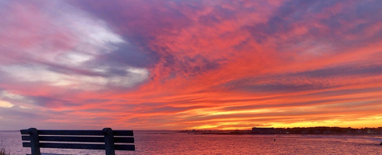 Sunset over Ocean Avenue in Kennebunkport.